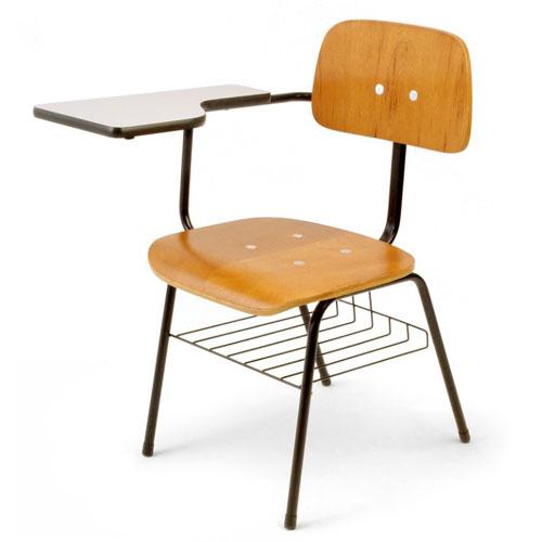 Cadeira escolar universitária em madeira