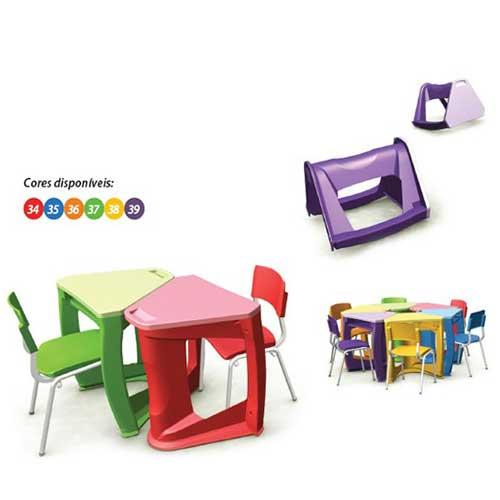 Mesa Escolar Plástica Colorida